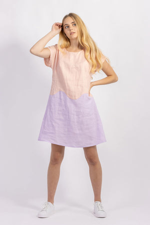 Forget-me-not April A-line dress in peach and lilac linen colour-block, front view