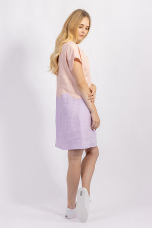 Forget-me-not April A-line dress in peach and lilac linen colour-block, side view