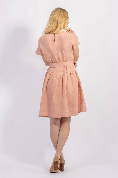 Forget-me-not April A-line dress pattern in apricot crinkle linen, rear view