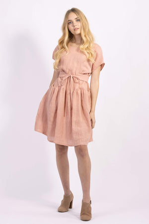Forget-me-not April A-line dress and Gemma tie belt in apricot crinkle linen, front view