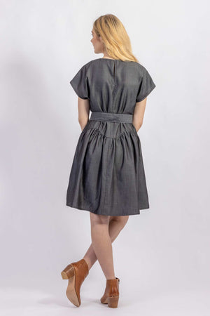 Forget-me-not April A-line dress and Gemma belt in Dark gray Tencel suiting, back view