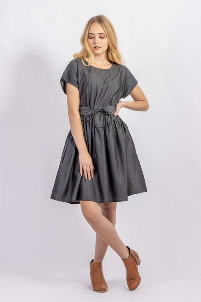 Forget-me-not April A-line dress and Gemma belt in Dark gray Tencel suiting, front view,