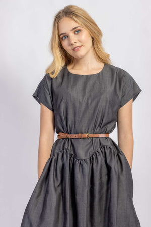 April A-Line Dress in tencel grey fabric with leather belt, close-up view