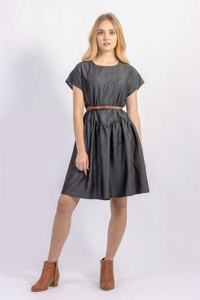 Forget-me-not April A-line dress in dark gray Tencel suiting with leather belt