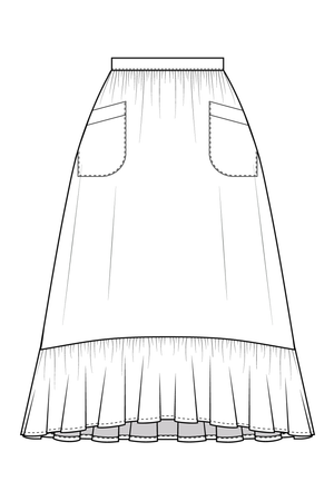 Forget-Me-Not Ella long skirt with pockets pattern, line drawing of front view