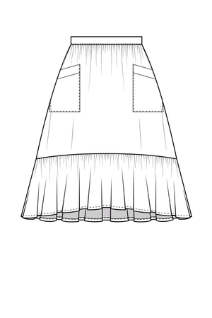 Forget-Me-Not Ella short skirt with pockets pattern, line drawing of front view
