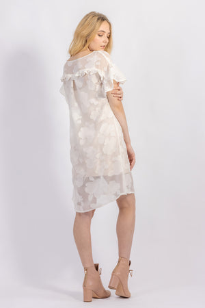 Forget-me-not Lola dress with ruffle sleeve in sheer patterned silk, back view