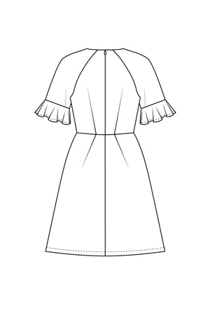Forget-Me-Not Valerie short sleeve dress pattern, line drawing of rear view
