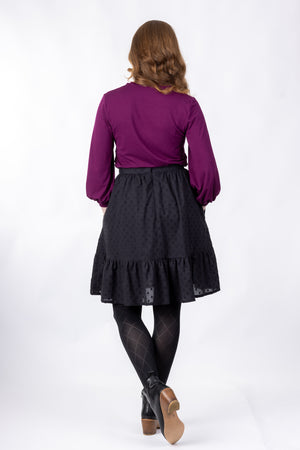 Forget-Me-Not Vera three-quarter gathered sleeve shirt pattern in purple, full rear view