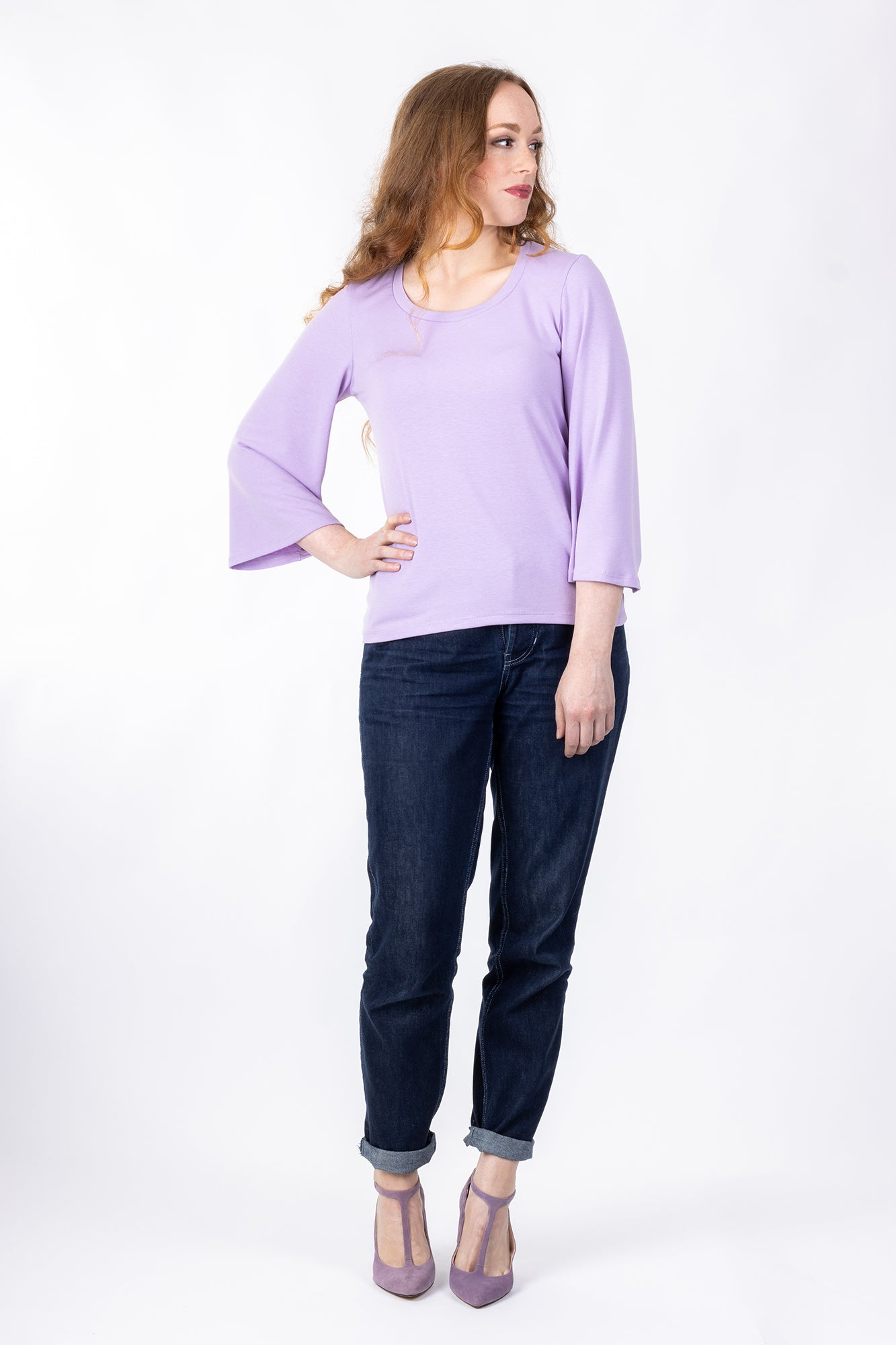 Forget-Me-Not Vera three-quarter gathered sleeve shirt pattern in purple, full front view