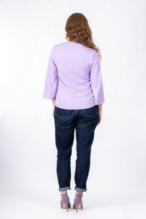 Scoop neck pattern expansion for Vera shirt, in lilac with wide three quarter sleeves, full rear view