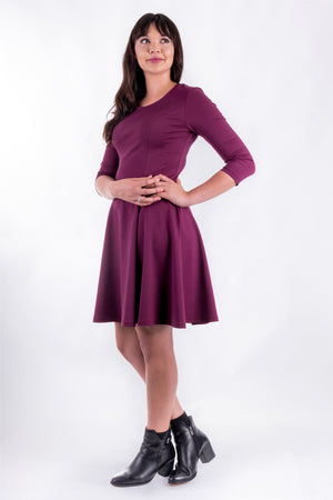 Forget-Me-Not Clementine three-quarter sleeved dress pattern, full length three quarters view, in mauve.