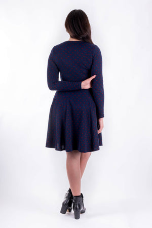 Forget-Me-Not Clementine long sleeved dress pattern, full length rear view, in navy.