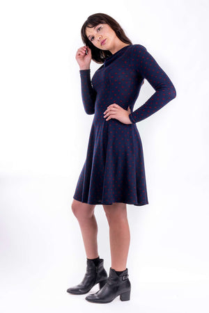 Forget-Me-Not Clementine long sleeved dress pattern, full length side view, in navy.