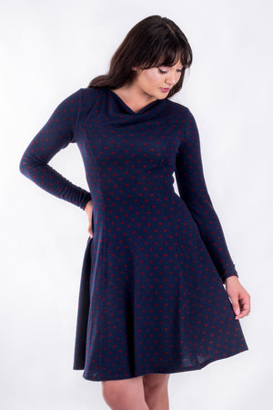 Forget-Me-Not Clementine long sleeved dress pattern, cropped front view, in navy.
