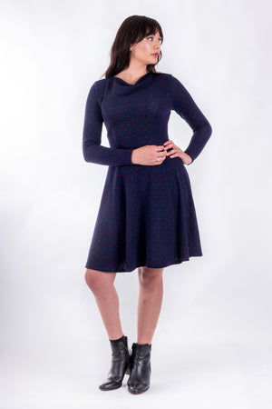 Forget-Me-Not Clementine long sleeved dress pattern, full length front view, in navy.