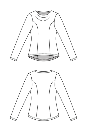 Forget-Me-Not Clementine long sleeved shirt pattern, line drawing, front and rear view.