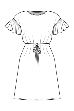 Forget-me-not Lola dress view with ruffle sleeve and boat neck, line drawing of front view