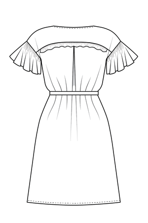 Forget-me-not Lola dress view with ruffle sleeve and boat neck, line drawing of bacl view