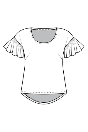 Forget-me-not Lola blouse view with ruffle sleeve and scoop neck, line drawing of front view
