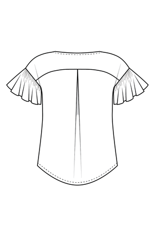 Forget-me-not Lola blouse view with ruffle sleeve and scoop neck, line drawing of back view