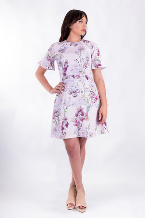 Forget-Me-Not Valerie short sleeve dress pattern in floral print, full-length front shot
