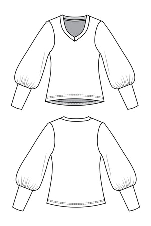 Forget-Me-Not Vera long gathered sleeve shirt pattern, line drawing of front and back
