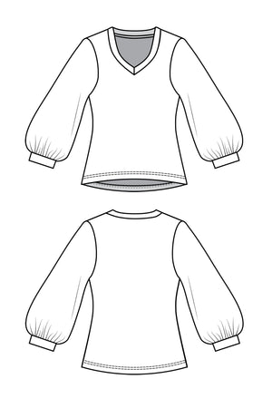 Forget-Me-Not Vera gathered three-quarter sleeve shirt pattern, line drawing of front and back