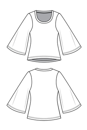 Forget-Me-Not Vera open three quarter sleeve pattern, line drawing of front and back