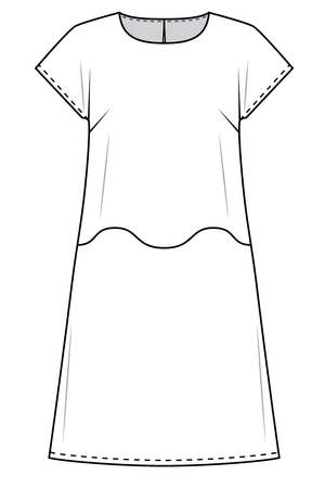 Forget-Me-Not April short sleeve dress pattern flat view, line drawing of front view