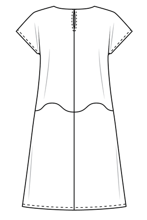 Forget-Me-Not April short sleeve dress pattern flat view, line drawing of back view