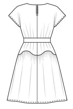 Forget-Me-Not April short sleeve dress pattern gathered view, line drawing of back view