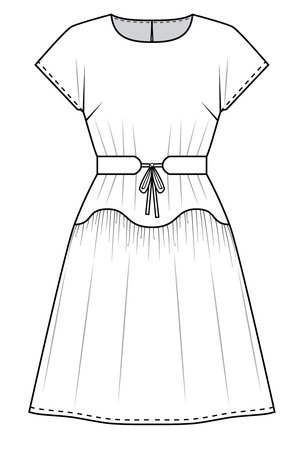 Forget-Me-Not April short sleeve dress pattern gathered view, line drawing of front view