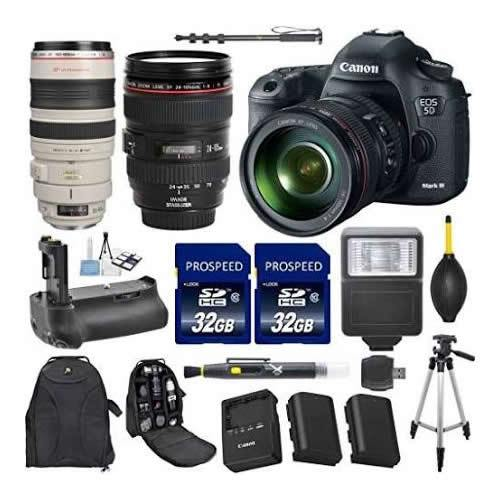 Canon EOS 5D Mark III 22.3 MP CMOS 1080p HD Camera Bundle with EF 24-105mm f/4 L IS USM Lens and Accessory Kit (15 Items)