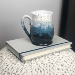 Colorblock Mug in Shadow, Sapphire, and Snow - Handmade Ceramics from Ice + Dust Pottery