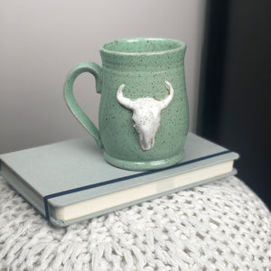 Longhorn Skull Mug, Large - Handmade Ceramics from Ice + Dust Pottery