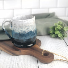 Load image into Gallery viewer, Colorblock Mug in Shadow, Sapphire, and Snow - Handmade Ceramics from Ice + Dust Pottery