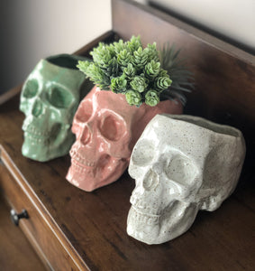 Human Skull Large Planters - Handmade Ceramics from Ice + Dust Pottery