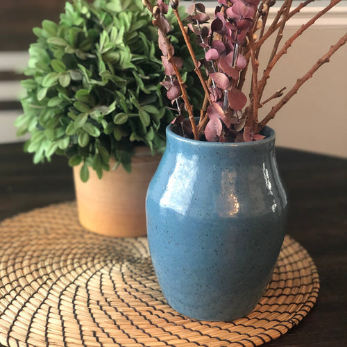 Speckled Vases in Sapphire Blue - Handmade Ceramics from Ice + Dust Pottery