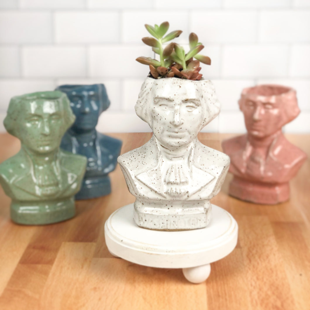 George Washington Bust Succulent Planters - Handmade Ceramics from Ice + Dust Pottery