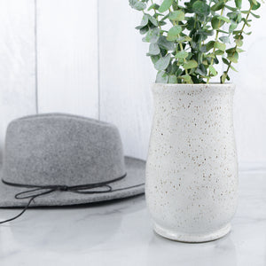 Speckled Vases in Snow White - Handmade Ceramics from Ice + Dust Pottery