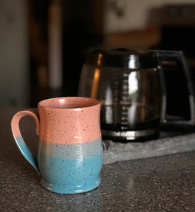 Colorblock Mug, Large, Strawberry & Sky - Handmade Ceramics from Ice + Dust Pottery