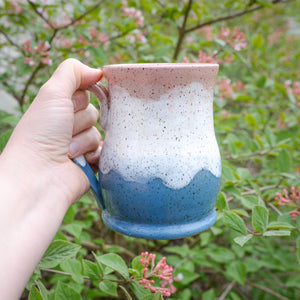Misty Mountains Mug, Strawberry Pink - Handmade Ceramics from Ice + Dust Pottery