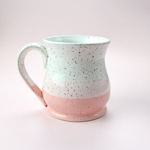 Colorblock Mug, Strawberry and Snow - Handmade Ceramics from Ice + Dust Pottery