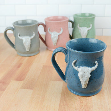 Longhorn Bull Skull Mug, Large - Handmade Ceramics from Ice + Dust Pottery