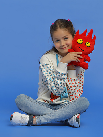 Image of fireboy plush on model