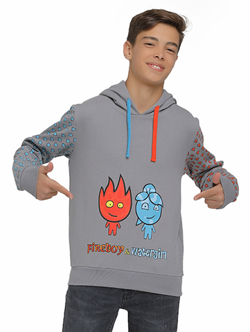 Image of fireboy sweatshirt on model rear side
