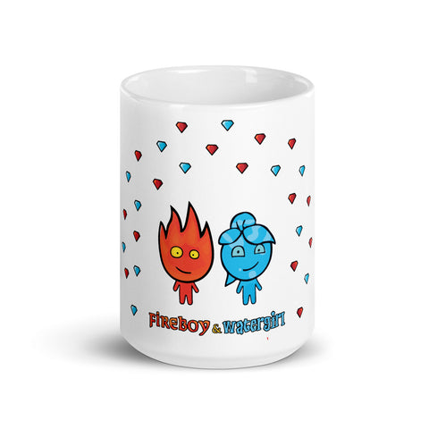 Image of Fireboy&Watergirl Diamonds Mug (White)