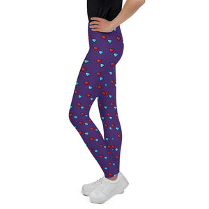 Youth Leggings with Diamonds (Purple)