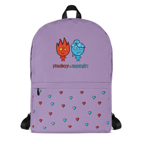 Fireboy&Watergirl Backpack with Diamonds (Purple)